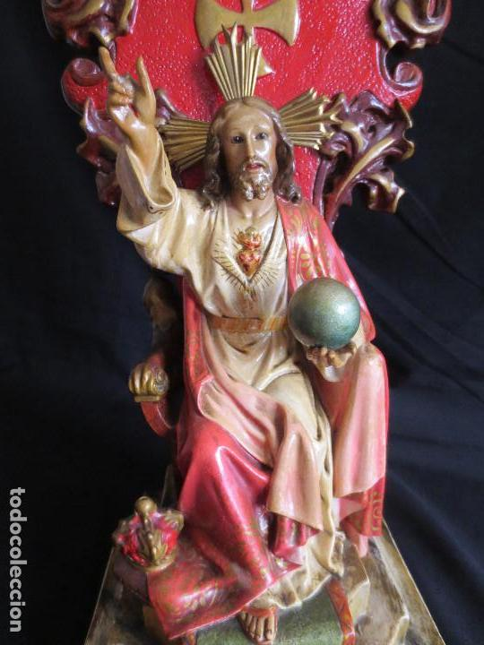 Arte: SAGRADO CORAZON DE JESUS SOBRE TRONO, CON EL SELLO DE ARTE MODELO OLOT - Foto 8 - 112509323