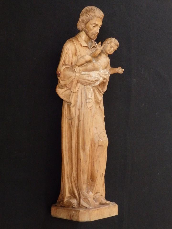 Arte: San José con el Niño Jesús. Madera tallada y parcialmente policromada. 40 cm. Pps. S. XX. - Foto 3 - 112570347