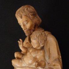Arte: SAN JOSÉ CON EL NIÑO JESÚS. MADERA TALLADA Y PARCIALMENTE POLICROMADA. 40 CM. PPS. S. XX.. Lote 112570347