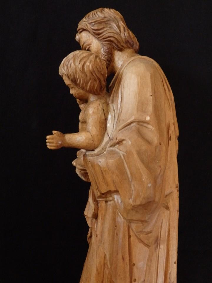 Arte: San José con el Niño Jesús. Madera tallada y parcialmente policromada. 40 cm. Pps. S. XX. - Foto 9 - 112570347