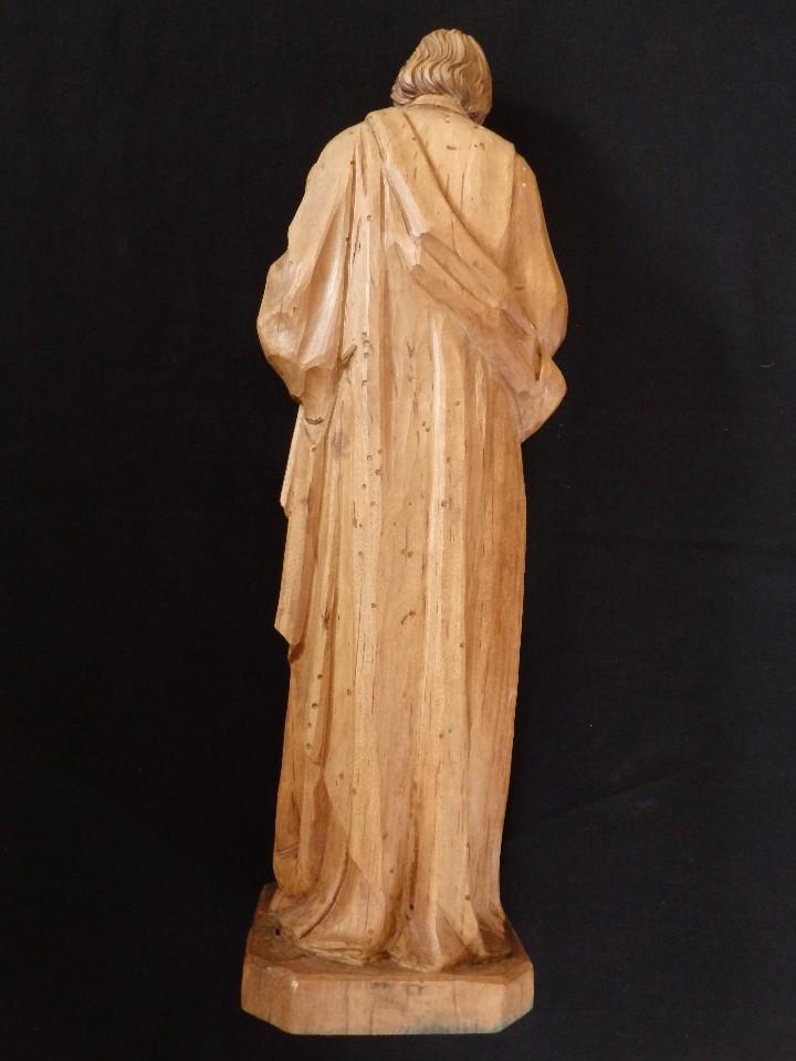 Arte: San José con el Niño Jesús. Madera tallada y parcialmente policromada. 40 cm. Pps. S. XX. - Foto 14 - 112570347