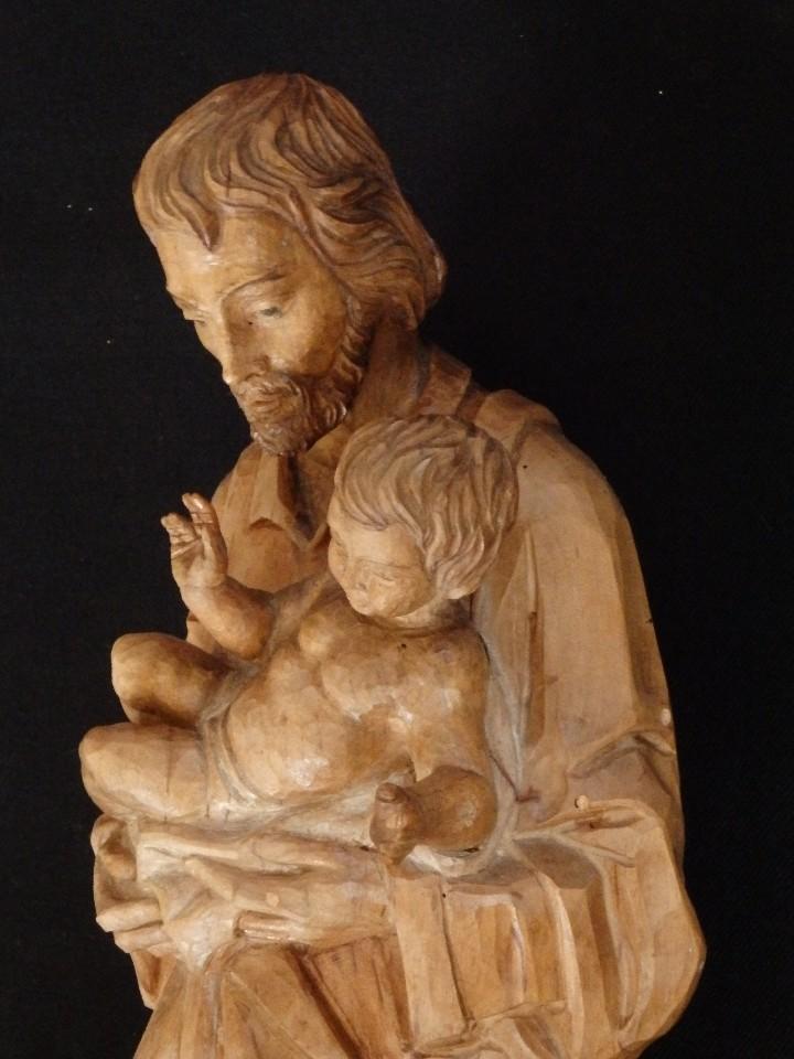Arte: San José con el Niño Jesús. Madera tallada y parcialmente policromada. 40 cm. Pps. S. XX. - Foto 17 - 112570347