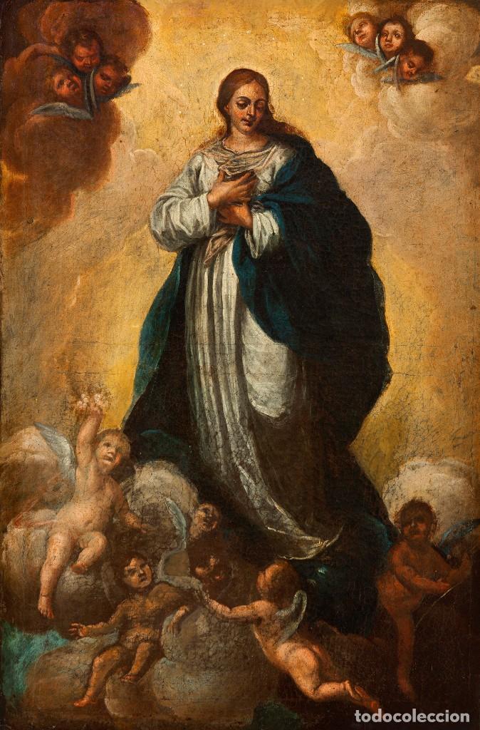 ÓLEO S/LIENZO -INMACULADA-. ENMARCADA DE ÉPOCA. CÍRCULO MURILLO FINALES S. XVII. DIM.- 103X72 CMS (Arte - Arte Religioso - Pintura Religiosa - Oleo)