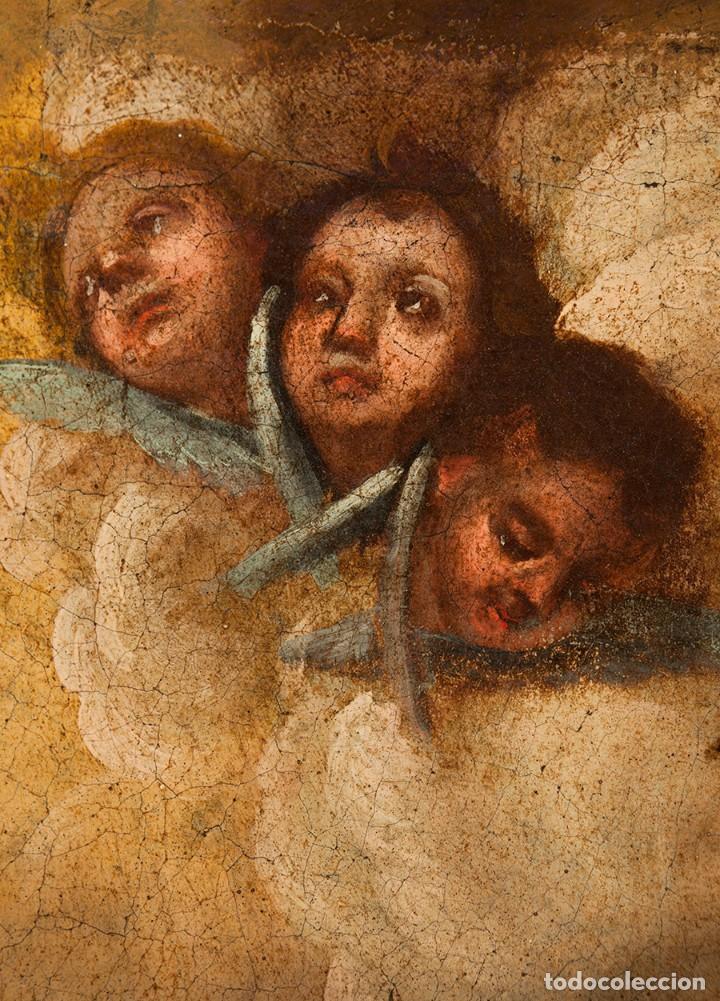 Arte: ÓLEO S/LIENZO -INMACULADA-. ENMARCADA DE ÉPOCA. CÍRCULO MURILLO FINALES S. XVII. DIM.- 103X72 CMS - Foto 4 - 112821991