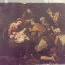 Arte: ANTIGUO CUADRO PINTURA LAMINA SOBRE MADERA PESEBRE, LA VIRGEN Y EL NIÑO Y ADORACION. Lote 113061959