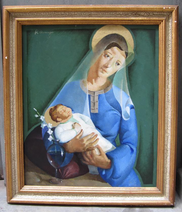 RICARD ARENYS (1914-1977), VIRGEN CON NIÑO. ÓLEO SOBRE TELA. 80X68CM (Arte - Arte Religioso - Pintura Religiosa - Oleo)