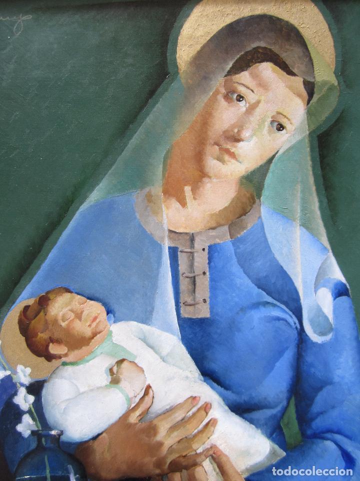 Arte: Ricard Arenys (1914-1977), Virgen con niño. óleo sobre tela. 80x68cm - Foto 2 - 113069599