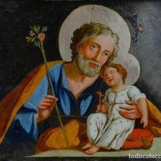 Arte: CRISTAL PINTADO SAN JOSÉ CON EL NIÑO SIGLO XVIII ESCUELA ITALIANA. Lote 113102403