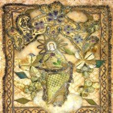 Arte: LA ASUNCIÓN DE LA VIRGEN. SEDA BORDADA CON HILOS METÁLICOS. ESPAÑA SIGLO XIX. Lote 113159243