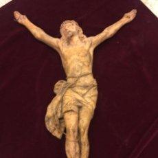 Arte: ENORME ANTIGUO JESUCRISTO CRUCIFICADO EN ESTUCO, TALLERES DE OLOT, MIDE CASI 1METRO DE ALTURA. LEER.. Lote 113178959
