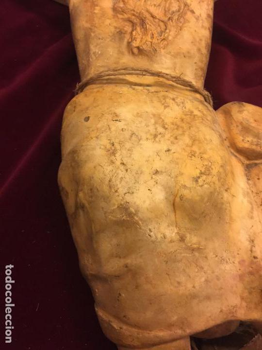 Arte: Enorme antiguo Jesucristo crucificado en estuco, talleres de Olot, mide casi 1metro de altura. Leer. - Foto 10 - 113178959