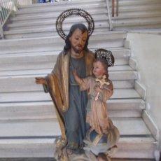 Arte: FIGURA SAN JOSE CON NIÑO JESUS DE ESTUCO M. CARRAU MED.: 92 CMS. CON CORONA .-PRINCIPIO S. XX- (SR). Lote 113187847