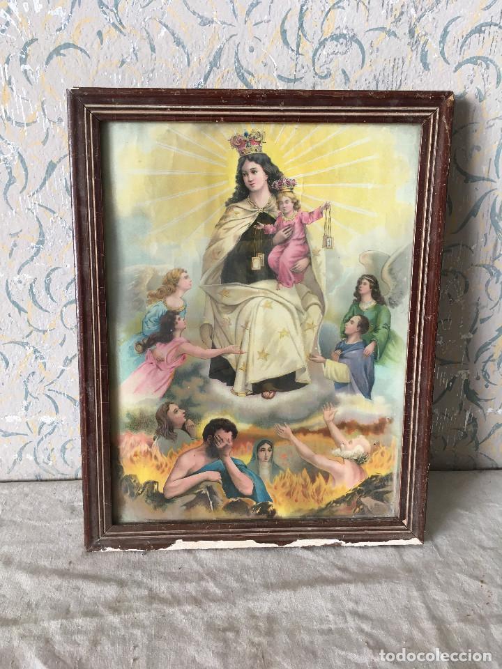 CUADRO ANTIGUO LÁMINA VIRGEN DEL CARMEN (Arte - Arte Religioso - Pintura Religiosa - Otros)