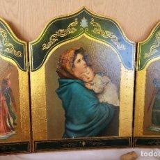Art: RETABLO TRÍPTICO RELIGIOSO. AÑOS 70. PRECIOSA PIEZA EN MUY BUEN ESTADO GENERAL. . Lote 113267079