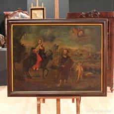 Arte: ANTIGUA PINTURA AL ÓLEO SOBRE LIENZO 'LA HUIDA A EGIPTO'' DEL XVIII SIGLO. Lote 113495723