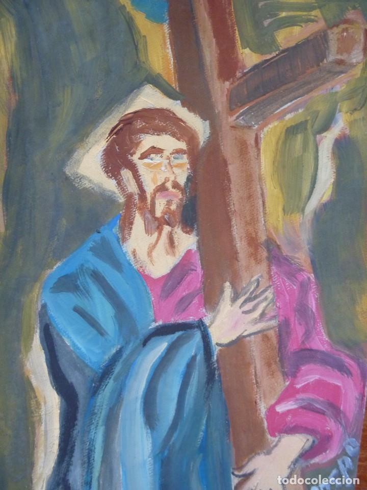 CRISTO ABRAZADO A LA CRUZ DE EL GRECO DE PACO CRESPO THE GRECO CHRIST COPY PAINTING (Arte - Arte Religioso - Pintura Religiosa - Oleo)