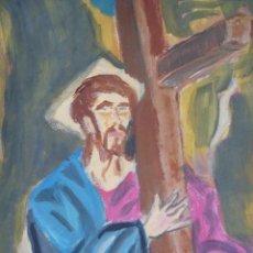 Arte: CRISTO ABRAZADO A LA CRUZ DE EL GRECO DE PACO CRESPO THE GRECO CHRIST COPY PAINTING. Lote 113553835