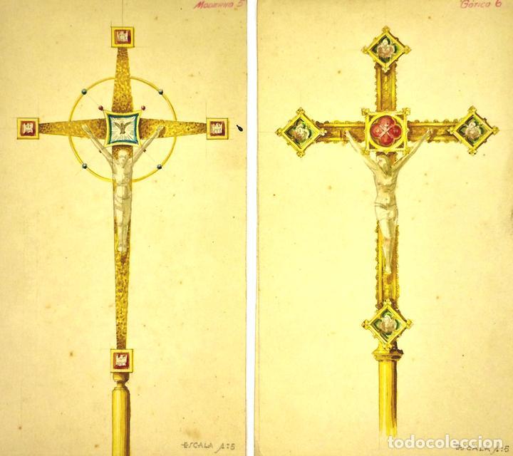 PROYECTOS DE CRUZ PROCESIONAL. ACUARELA SOBRE PAPEL. ATRIBUIDO GORGUES. ESPAÑA. S.XX (Arte - Arte Religioso - Pintura Religiosa - Acuarela)