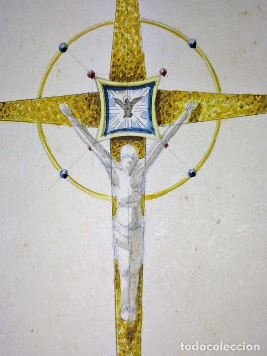 Arte: PROYECTOS DE CRUZ PROCESIONAL. ACUARELA SOBRE PAPEL. ATRIBUIDO GORGUES. ESPAÑA. S.XX - Foto 3 - 113686239