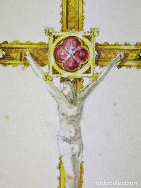 Arte: PROYECTOS DE CRUZ PROCESIONAL. ACUARELA SOBRE PAPEL. ATRIBUIDO GORGUES. ESPAÑA. S.XX - Foto 6 - 113686239