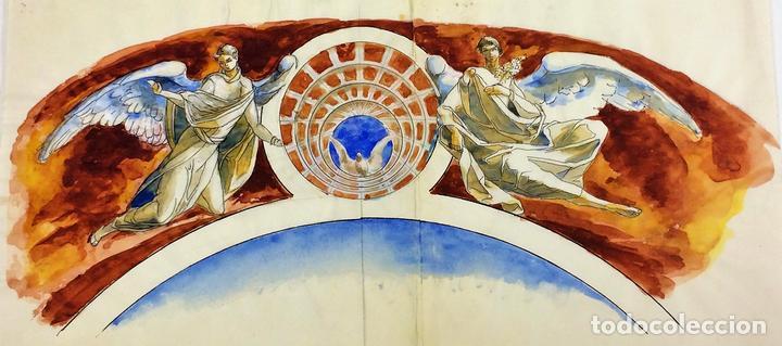 EL ESPÍRITU SANTO. ACUARELA SOBRE PAPEL. ATRIBUIDO A GORGUES. ESPAÑA. CIRCA 1950 (Arte - Arte Religioso - Pintura Religiosa - Acuarela)