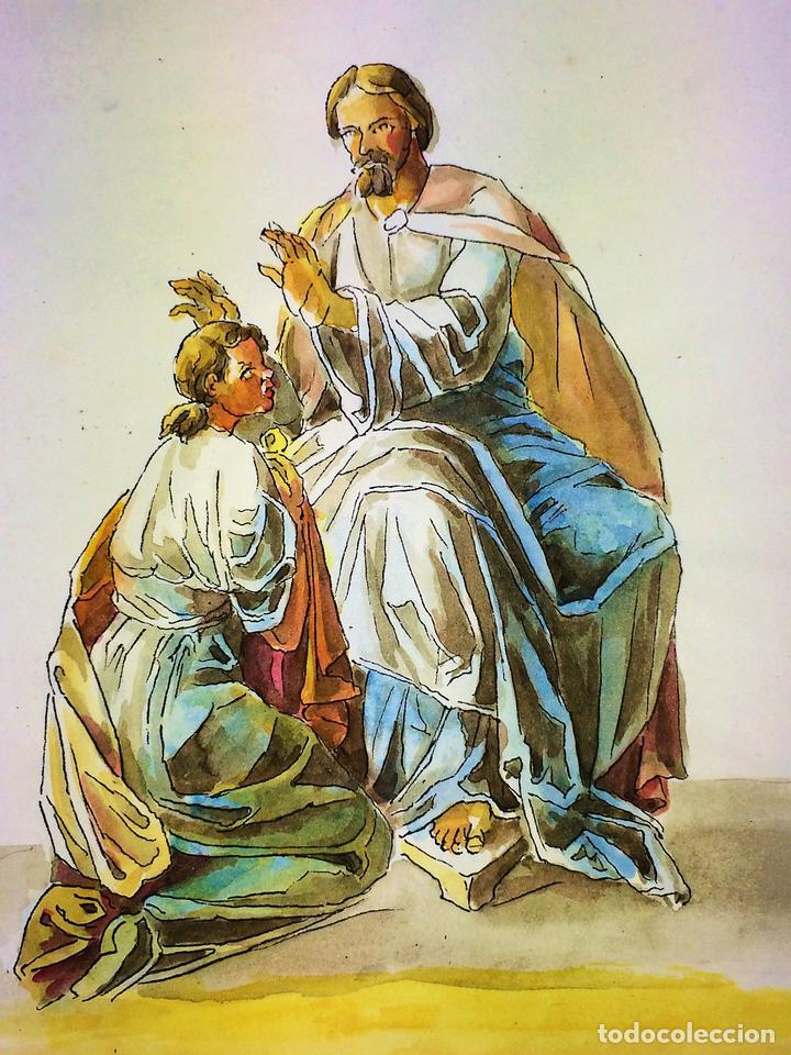 JESÚS IMPONIENDO SUS MANOS. ACUARELA SOBRE PAPEL. ATRIBUIDO A GORGUES. ESPAÑA. CIRCA 1950 (Arte - Arte Religioso - Pintura Religiosa - Acuarela)