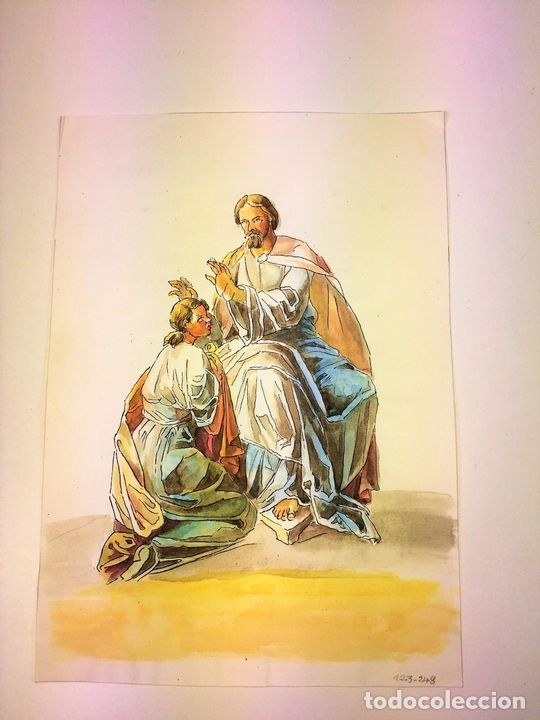Arte: JESÚS IMPONIENDO SUS MANOS. ACUARELA SOBRE PAPEL. ATRIBUIDO A GORGUES. ESPAÑA. CIRCA 1950 - Foto 2 - 113806699