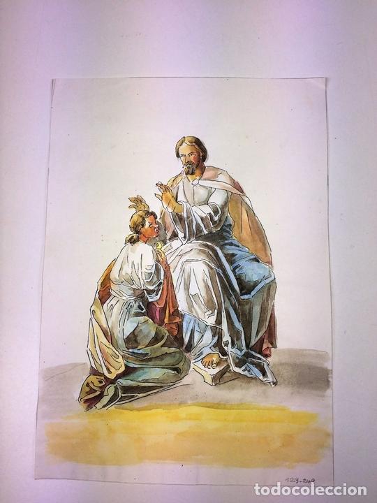 Arte: JESÚS IMPONIENDO SUS MANOS. ACUARELA SOBRE PAPEL. ATRIBUIDO A GORGUES. ESPAÑA. CIRCA 1950 - Foto 3 - 113806699