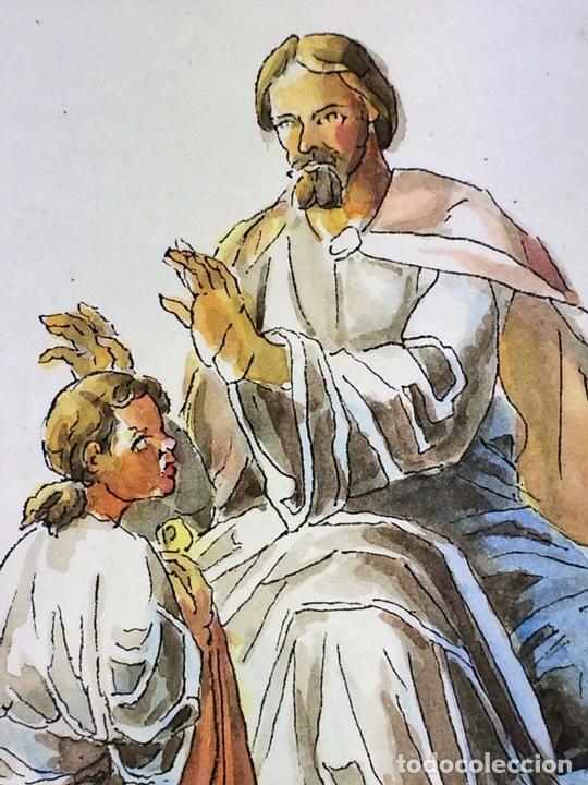 Arte: JESÚS IMPONIENDO SUS MANOS. ACUARELA SOBRE PAPEL. ATRIBUIDO A GORGUES. ESPAÑA. CIRCA 1950 - Foto 4 - 113806699