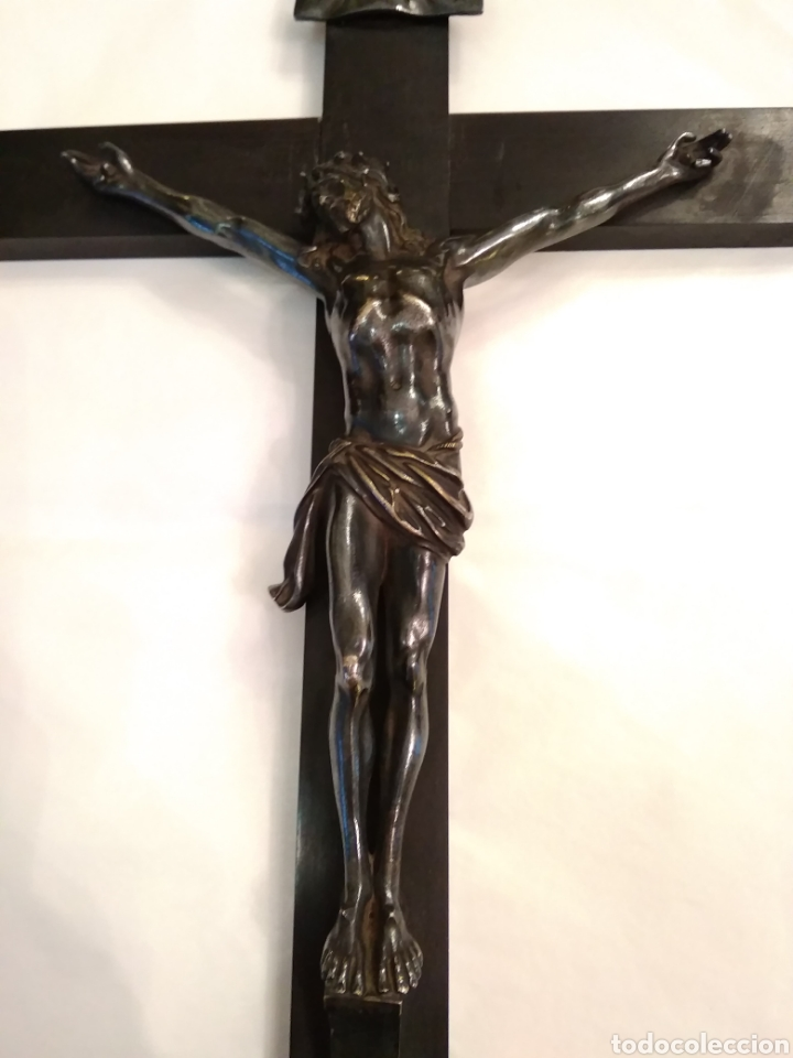 Arte: Cruz, Crucifijo de palosanto y bronce siglo XIX - Foto 6 - 113909627