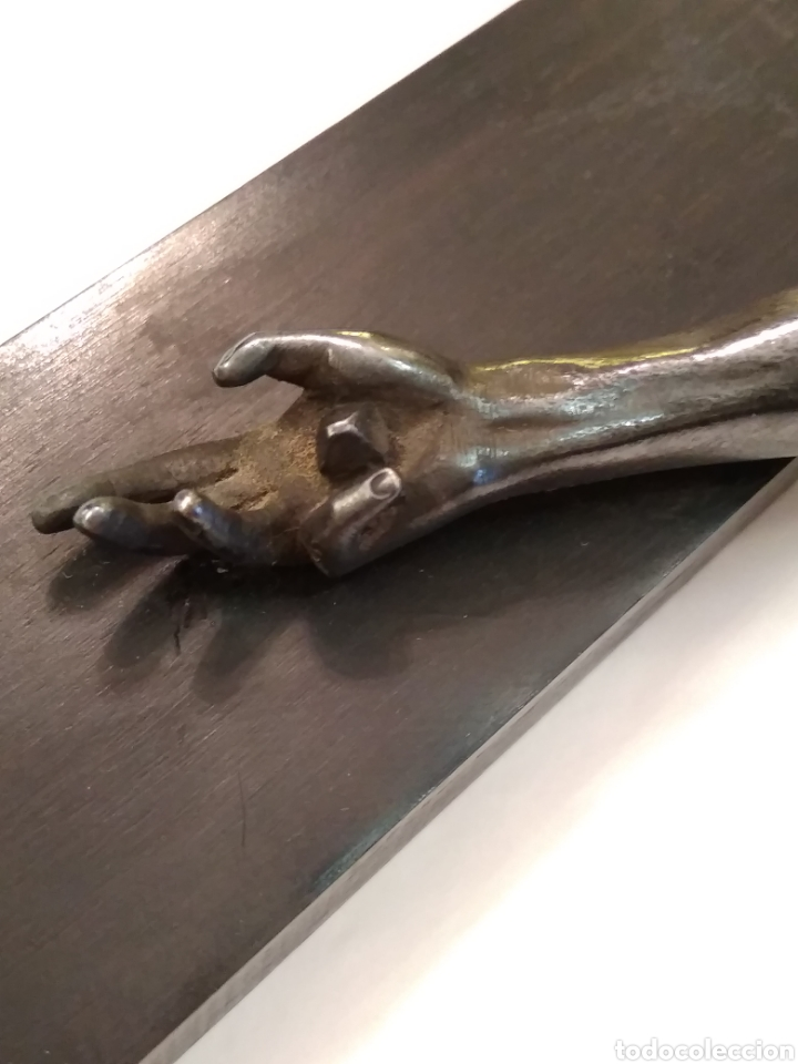 Arte: Cruz, Crucifijo de palosanto y bronce siglo XIX - Foto 7 - 113909627