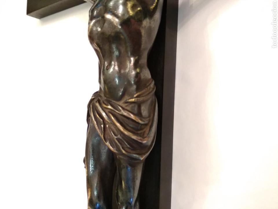 Arte: Cruz, Crucifijo de palosanto y bronce siglo XIX - Foto 10 - 113909627