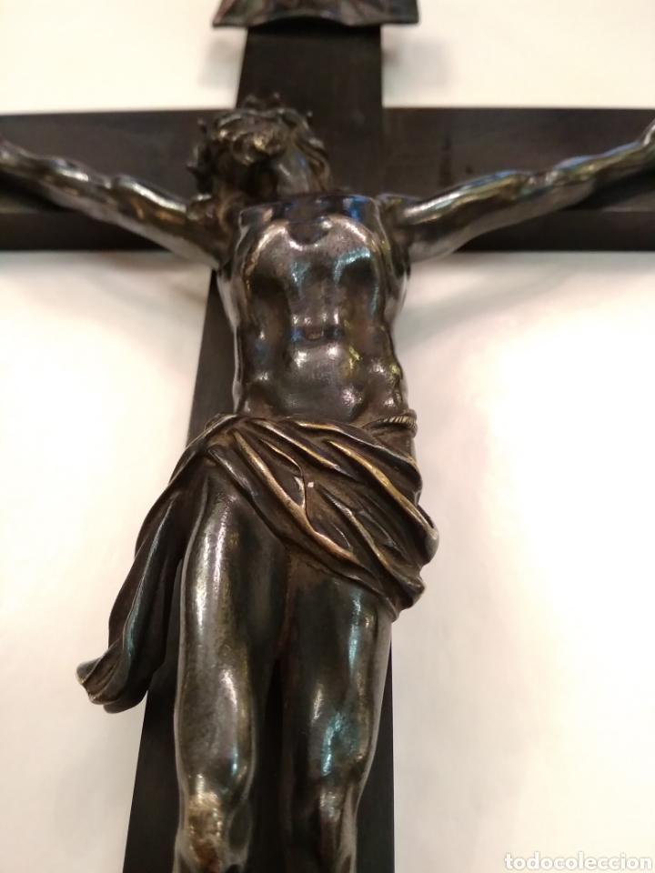 Arte: Cruz, Crucifijo de palosanto y bronce siglo XIX - Foto 12 - 113909627