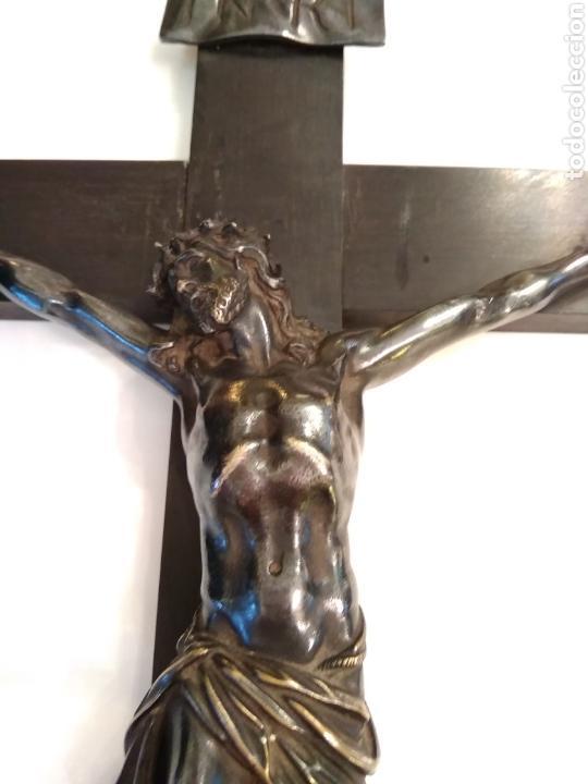 Arte: Cruz, Crucifijo de palosanto y bronce siglo XIX - Foto 13 - 113909627