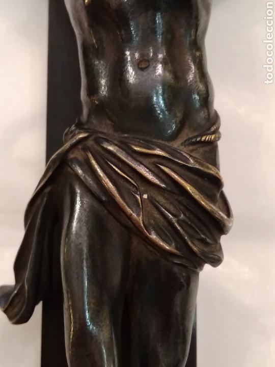 Arte: Cruz, Crucifijo de palosanto y bronce siglo XIX - Foto 14 - 113909627