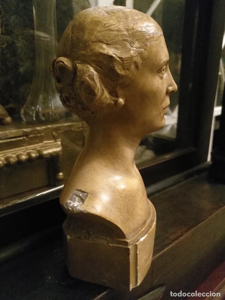 ESCULTURA BUSTO SEÑORA MUJER VIRGEN FIRMADA MARINA C. DE LA HORGAN MADE IN ENGLAND DERECHOS RESERVED (Arte - Arte Religioso - Escultura)