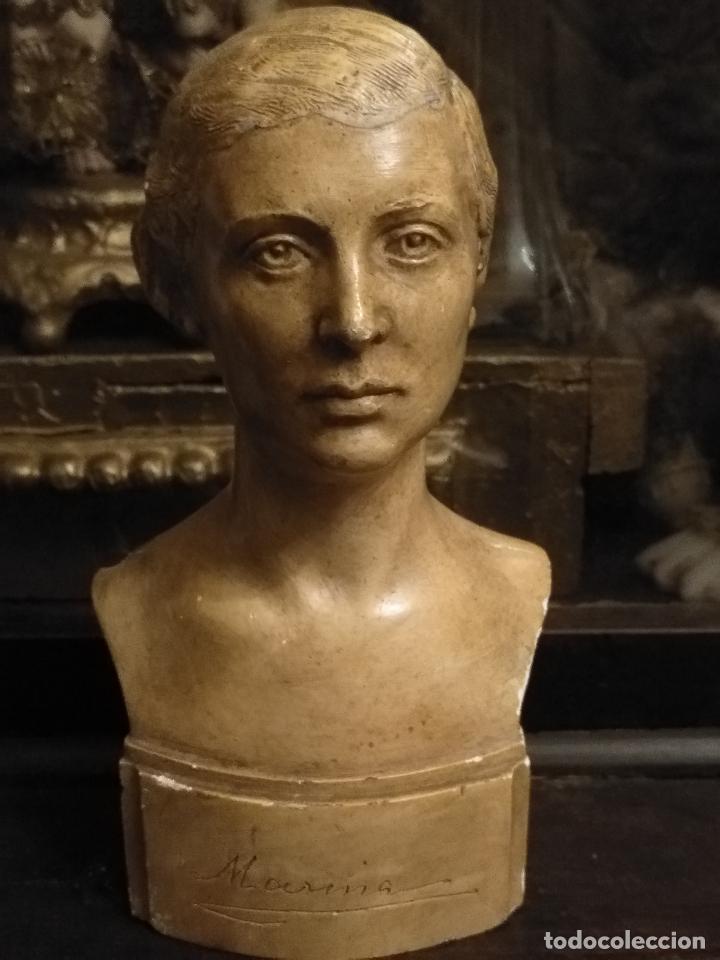 Arte: escultura busto señora mujer virgen firmada marina c. de la horgan made in england derechos reserved - Foto 2 - 113950647