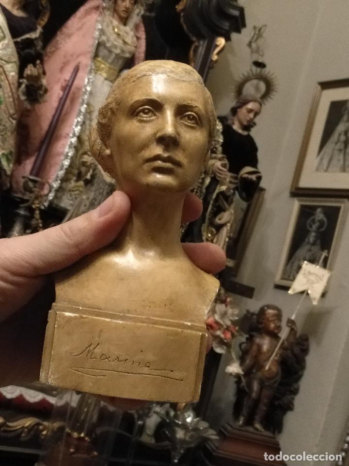 Arte: escultura busto señora mujer virgen firmada marina c. de la horgan made in england derechos reserved - Foto 3 - 113950647