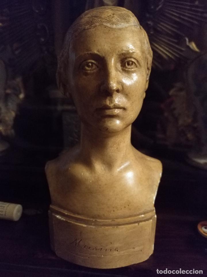 Arte: escultura busto señora mujer virgen firmada marina c. de la horgan made in england derechos reserved - Foto 16 - 113950647