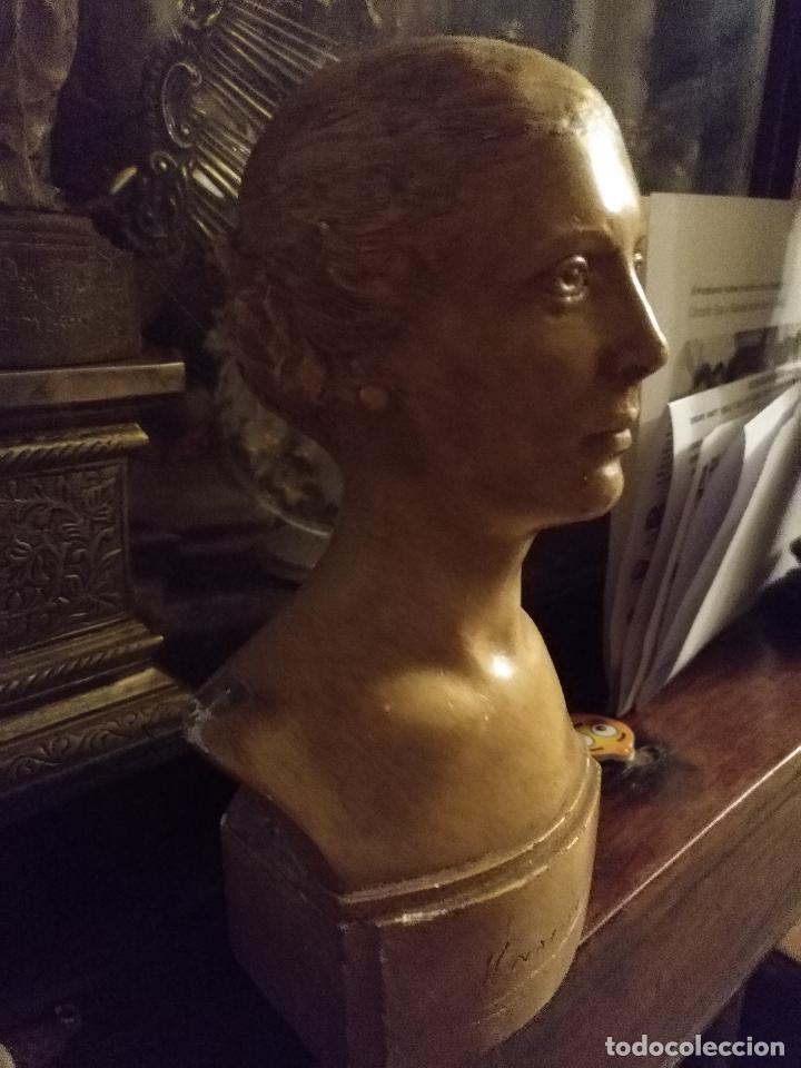 Arte: escultura busto señora mujer virgen firmada marina c. de la horgan made in england derechos reserved - Foto 17 - 113950647