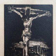 Arte: CRISTO CRUCIFICADO, XILOGRAFÍA EXPRESIONISMO / 1930 / FIRMADA A LAPIZ. Lote 114004435