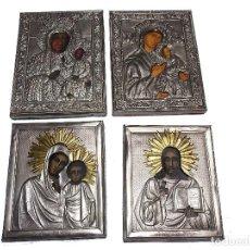 Arte: ICONO RELIGIOSO POLACO VINTAGE 4 ICONOS BOGUSLAW GLOGOWSKI PINTADO A MANO. Lote 114008699