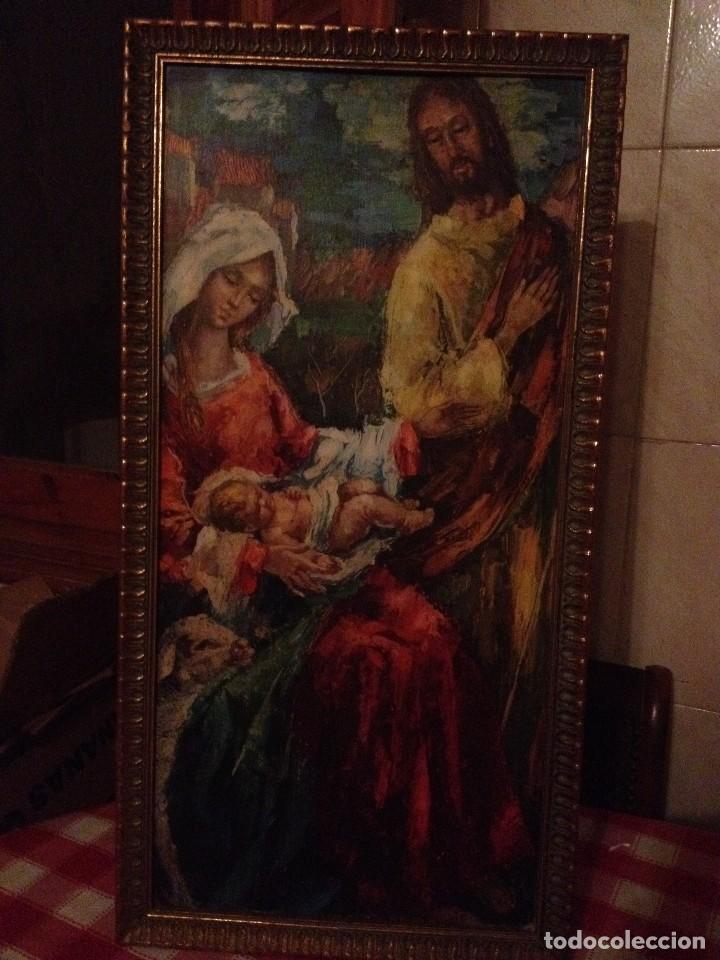 ANTIGUO ICONO ,NACIMIENTO ,CON LA VIRGEN,SAN JOSÉ Y EL NIÑO,LAMINA PEGADA EN MADERA. (Arte - Arte Religioso - Iconos)