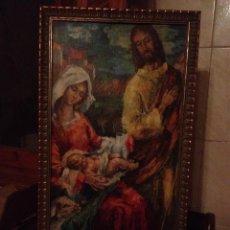 Arte: ANTIGUO ICONO ,NACIMIENTO ,CON LA VIRGEN,SAN JOSÉ Y EL NIÑO,LAMINA PEGADA EN MADERA.. Lote 114060575