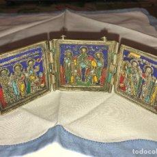Arte: ANTIGUO TRÍPTICO RELIGIOSO DE VIAJE EN BRONCE SIGLO XIX, ESMALTADO.. Lote 114125679