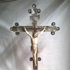 Art: CRISTO CRUCIFIJO TALLA DE MARFIL Y MARQUETERIA NACAR S XIX, BUEN ESTADO. MED 62 CM. Lote 114210895