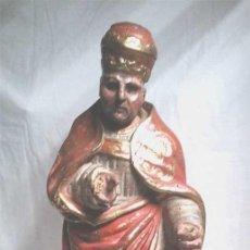Arte: SAN CIPRIANO OBISPO, TALLA MADERA POLICROMADA XVIII. MED. 58 CM. Lote 114236835