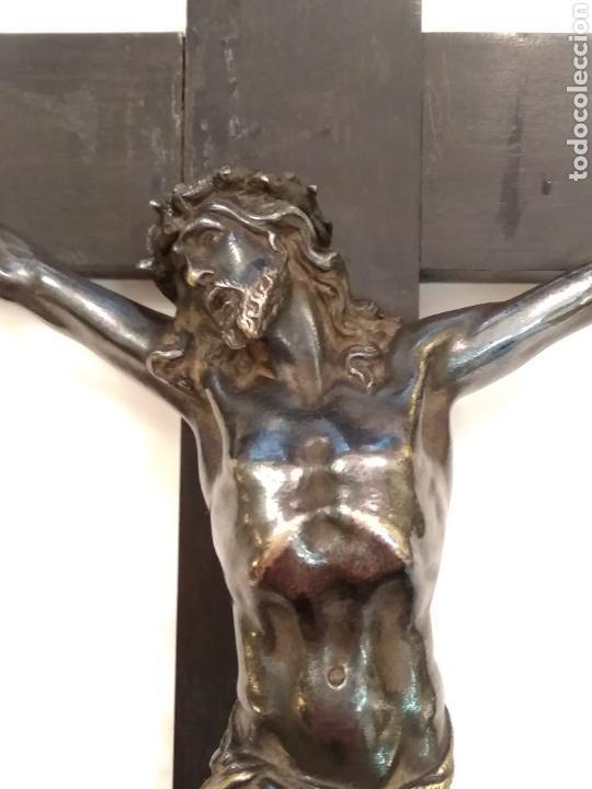 Arte: Cruz, Crucifijo de palosanto y bronce siglo XIX - Foto 3 - 113909627