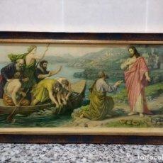 Arte: JESÚS Y LOS PESCADORES. LITOGRAFIA ANTIGUA CON ENMARCADO NUEVO. AÑOS '50.GRAFOS. S.A.BARCELONA. Lote 114273851