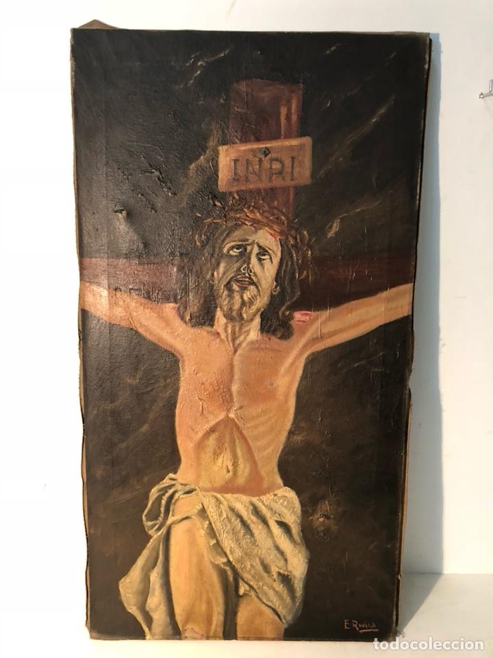 PINTURA CRISTO OLEO SOBRE TELA PARA RESTAURAR, FIRMADO E.ROVIRA. (Arte - Arte Religioso - Pintura Religiosa - Oleo)